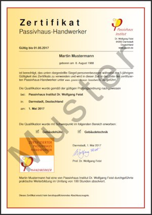 Certified Passive House Tradesperson certificate