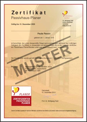 Certified Passive House Designer certificate